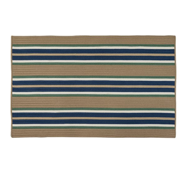Madalynn Stripe Isle Hand-Braided Taupe Indoor/Outdoor Area Rug by Breakwater Bay