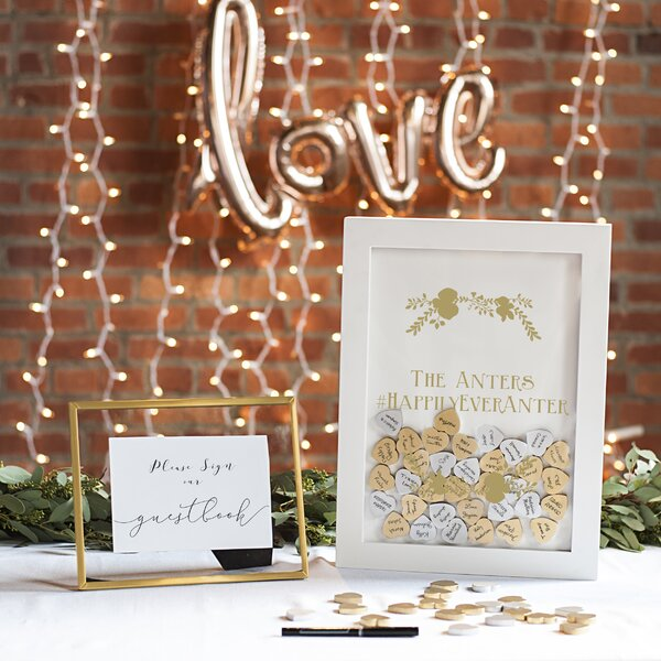Personalized Gold Heart Drop Guestbook by Cathys Concepts