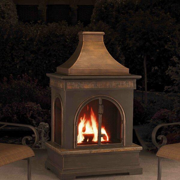Hardy Slate Steel Wood Burning Outdoor Fireplace by Sunjoy