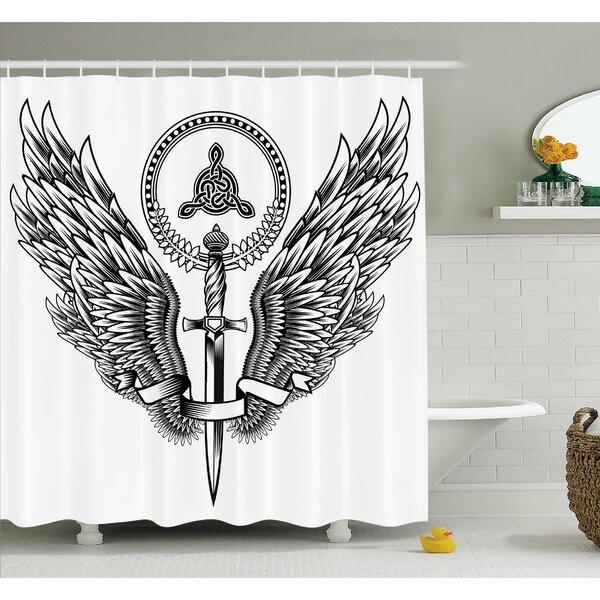 Tattoo Skull of a Bull with Horns Tangled Geometric Simple Symbols Art Image Shower Curtain Set by Ambesonne