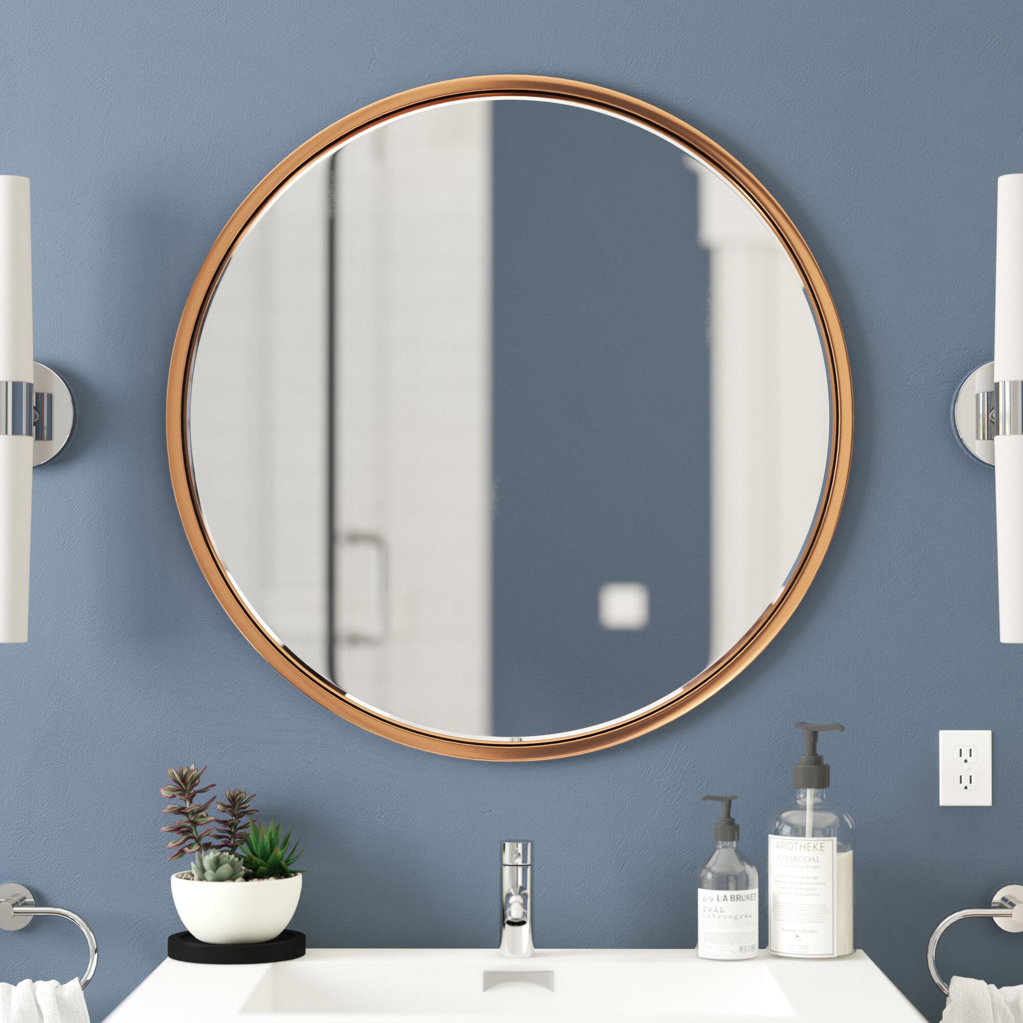 Oval Bathroom Wall Mirror Modern Stylish Gold Black Metal Frame Wall Hanging Metal Circle Bathroom Mirrors Vanity Mirrors