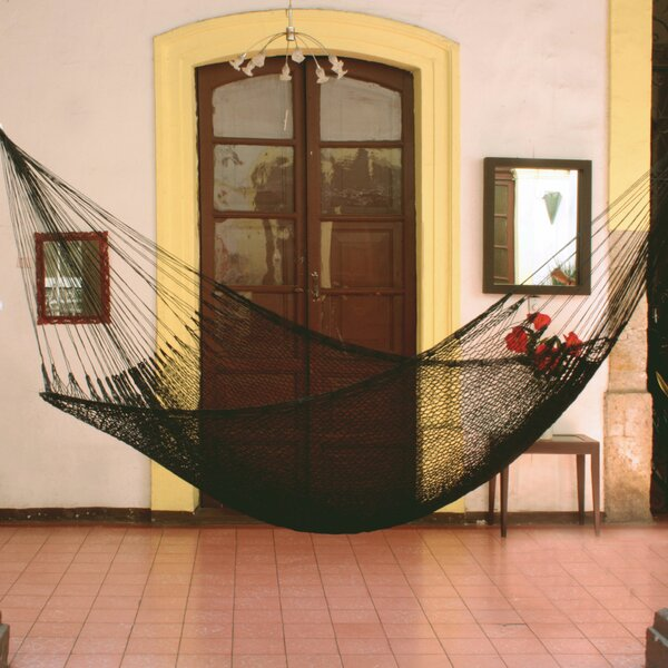 Single Person Portable Midnight Hand-Woven Mayan Artists of the Yucatan Nylon With Accessories Included Indoor And Outdoor Hammock by Novica