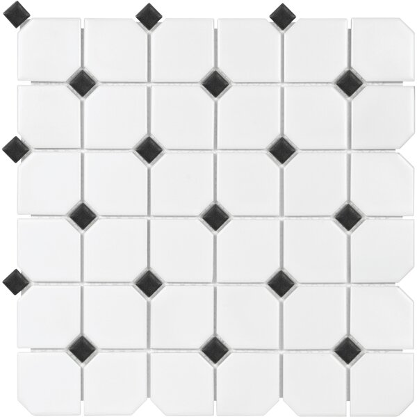 Sail 2 x 2 Ceramic/Porcelain Mosaic Tile in Matte Onyx/White by Parvatile