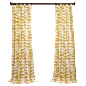 katelyn printed cotton twill geometric rod pocket single curtain panel
