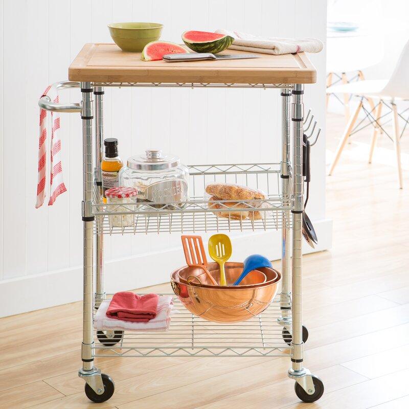 Charming Andover Mills Taunton Kitchen Cart With Wood Top Reviews Wayfair