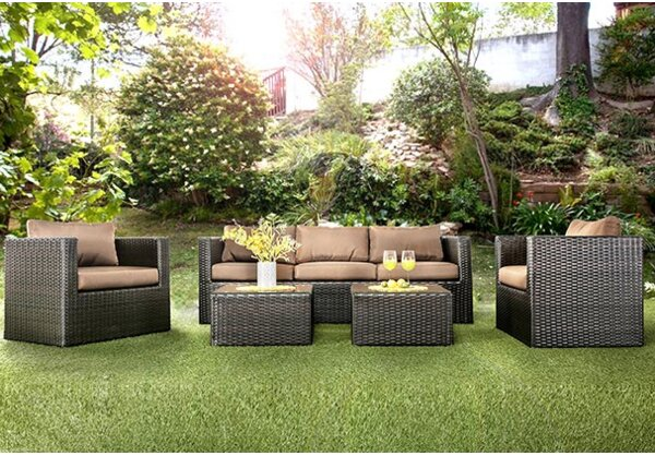 Monica 5 Piece Rattan Sofa Seating Group with Cushions