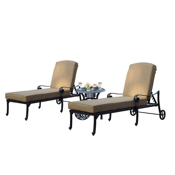 Batres Santa Monica Reclining Chaise Lounge with Cushion and Table