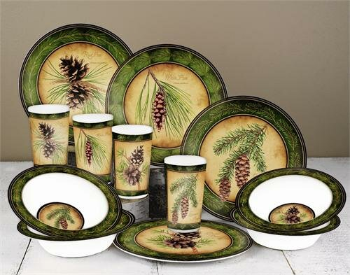 Pinecone Melamine 12 Piece Dinnerware Set, Service for 4 by MotorHead Products