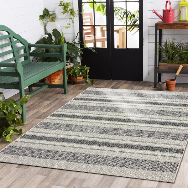 Maiah Reversible Black/Beige Indoor/Outdoor Area Rug by Gracie Oaks