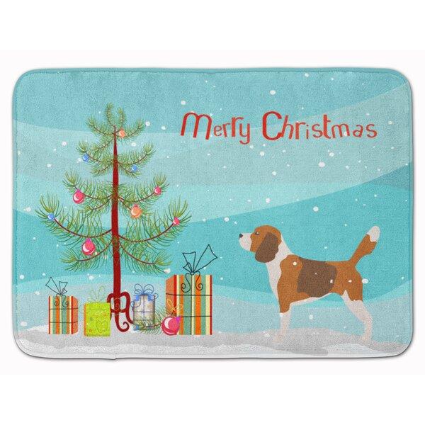 Beagle Merry Christmas Tree Memory Foam Bath Rug by The Holiday Aisle