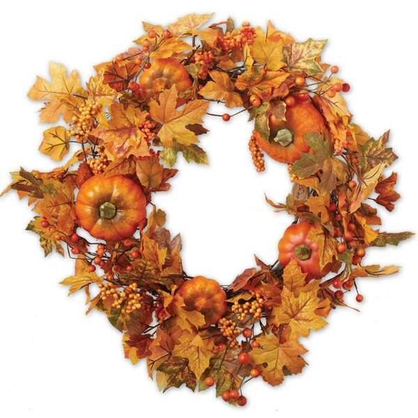 22 Leaves and Pumpkins Wreath by Design Imports
