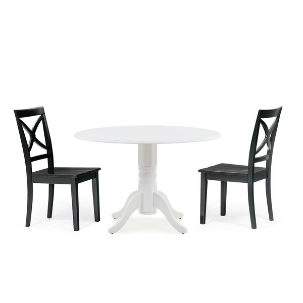 Chesterton 3 Piece Drop Leaf Solid Wood Dining Set by Alcott Hill Alcott Hill