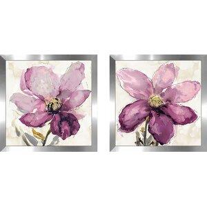 'Floral Wash I' 2 Piece Framed Print Set on Glass by Red Barrel Studio