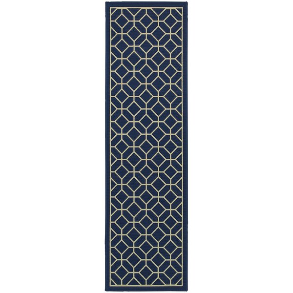 Liza Blue/Ivory Indoor/Outdoor Area Rug by Langley Street