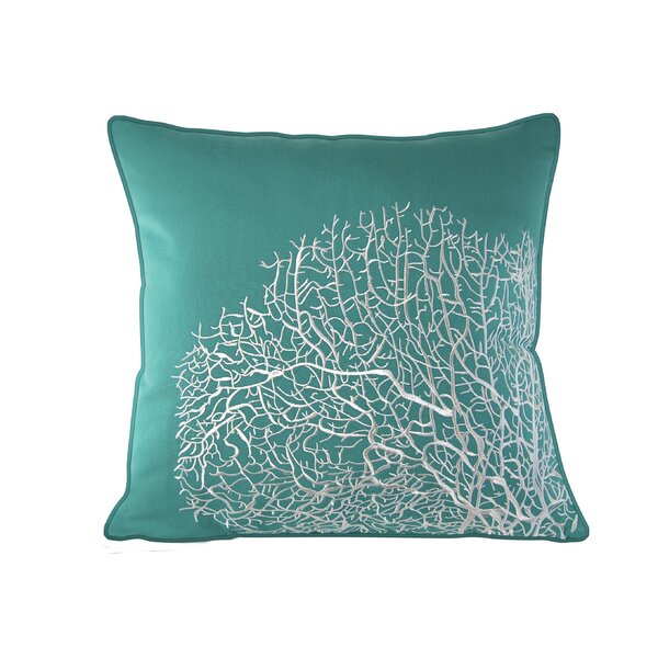 Corbel Fan Coral Outdoor Embroidered Sunbrella Pillow by Rosecliff Heights