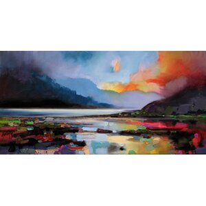 'Hills around the Lake' by Scott Naismith Painting Print on Wrapped Canvas by Hobbitholeco.