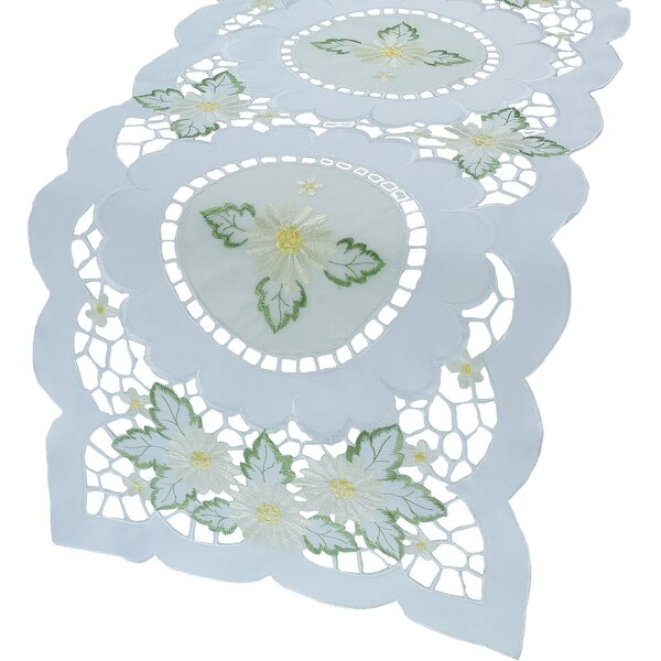 Elegant Daisy Embroidered Cutwork Table Runner by Xia Home Fashions