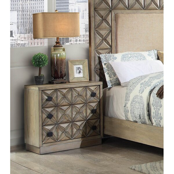 Pinnix 3 Drawer Nightstand by Bloomsbury Market