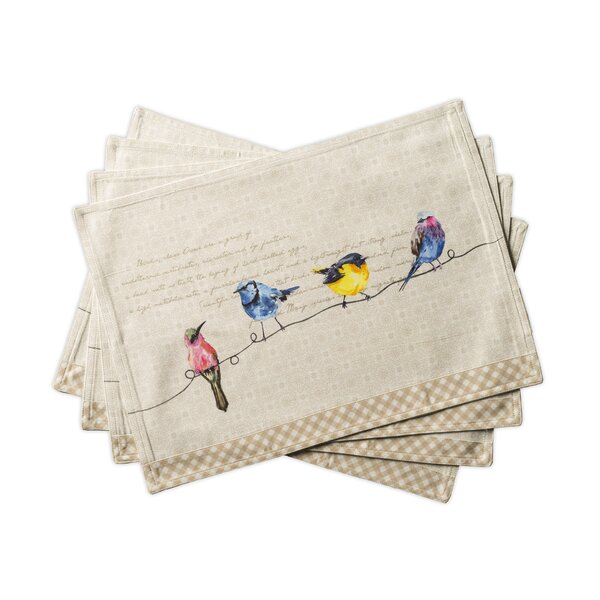Birdies on Wire Placemats (Set of 4) by Maison d' Hermine