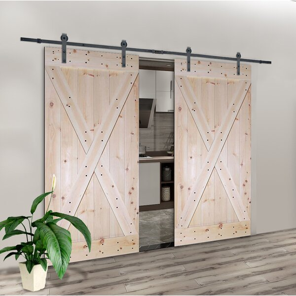 Solid Room Divider Wood Slab Interior Barn Door (Set of 2) by Calhome