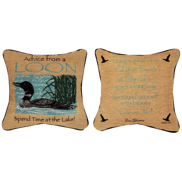Advice from a Loon Throw Pillow by Manual Woodworkers & Weavers