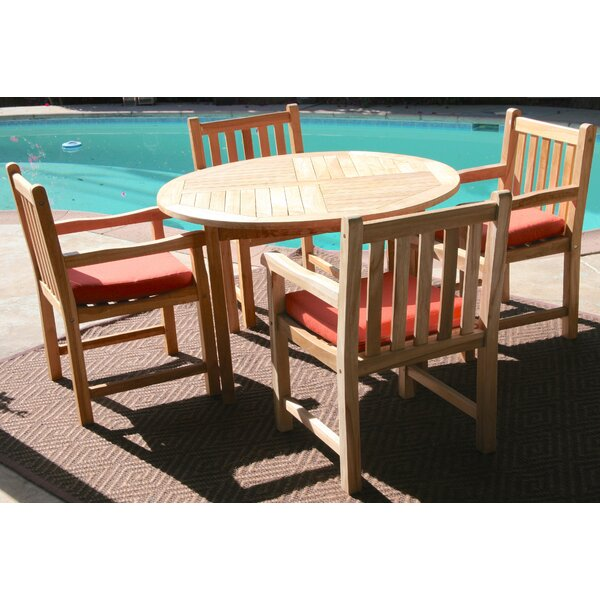 Waterford 5 Piece Teak Dining Set with Sunbrella Cushions by Trijaya Living