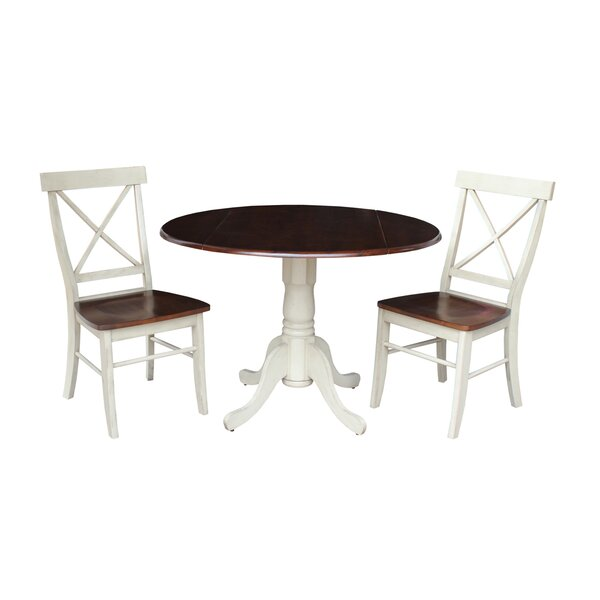 Spradlin Round Top 3 Piece Drop Leaf Solid Wood Dining Set by August Grove