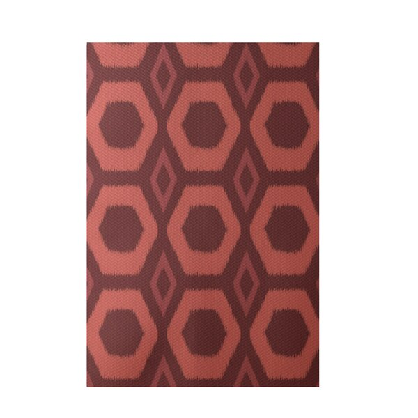 Geometric Hand-Woven Rust Indoor/Outdoor Area Rug by e by design