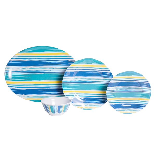 Whitson  By The Sea Melamine 19 Piece Dinnerware Set, Service for 6 by Rosecliff Heights