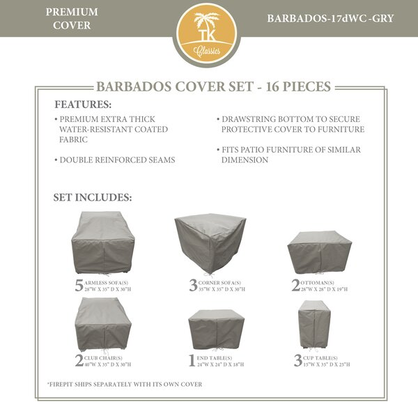 Barbados 16 Piece Water Resistant Patio Furniture Cover Set by TK Classics