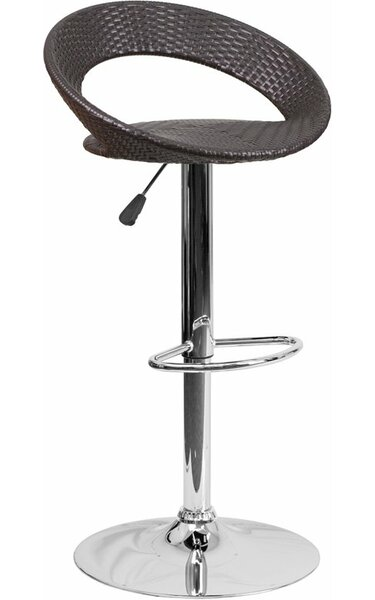 Outen Wicker 4 Rounded Back Adjustable Height Swivel Bar Stool by Wrought Studio