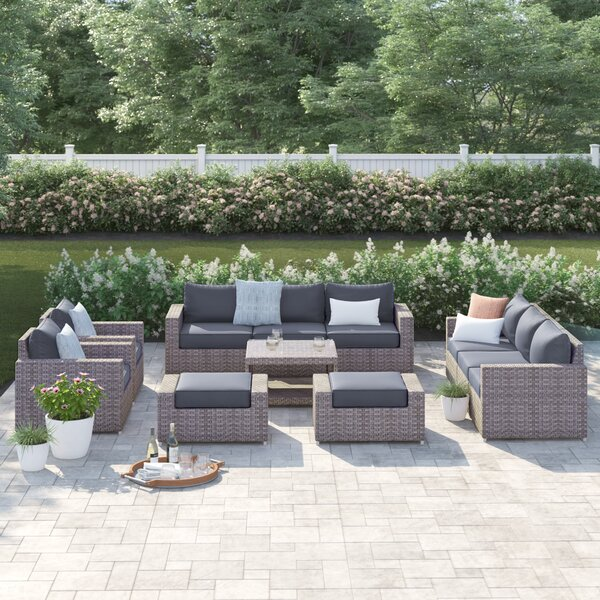 Kordell 11 Piece Rattan Sectional Seating Group with Cushions by Sol 72 Outdoor
