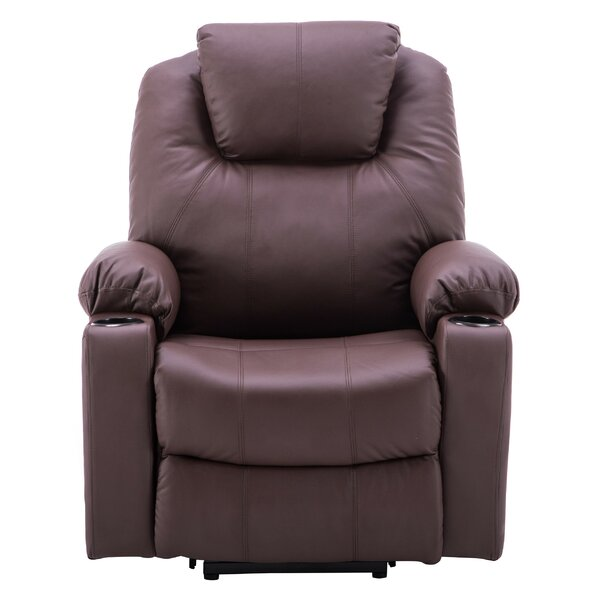 Courtois Faux Leather Power Lift Assist Recliner with Massage W000287847