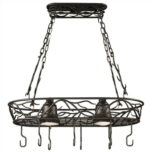 Easton Lighted Hanging Pot Rack by Loon Peak