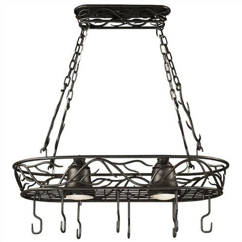 Easton Lighted Hanging Pot Rack by Loon Peak