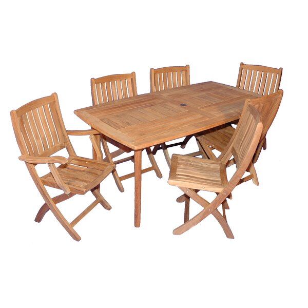 Bullock 7 Piece Teak Dining Set by Highland Dunes