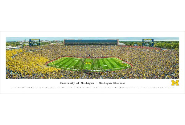 NCAA Michigan, University of - Football - 50 Yard Line by James Blakeway Photographic Print by Blakeway Worldwide Panoramas, Inc