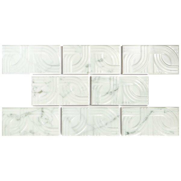 Karra Carrara 3 x 6 Ceramic Subway Tile in Glossy Metropolis White/Gray by EliteTile