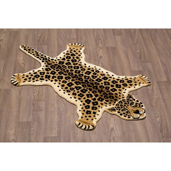 Hidden Hills Leopard Skin Shape Hand Woven Brown/Black Area Rug by Zoomie Kids
