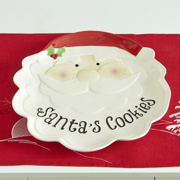 Santa Cookie Earthenware Platter (Set of 2) by Bir