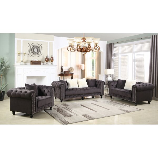 Leyton Upholstered 3 Piece Living Room Set by Canora Grey