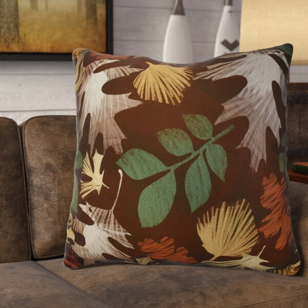 Brookfield Watercolor Leaves Floral Print Euro Pillow by Loon Peak