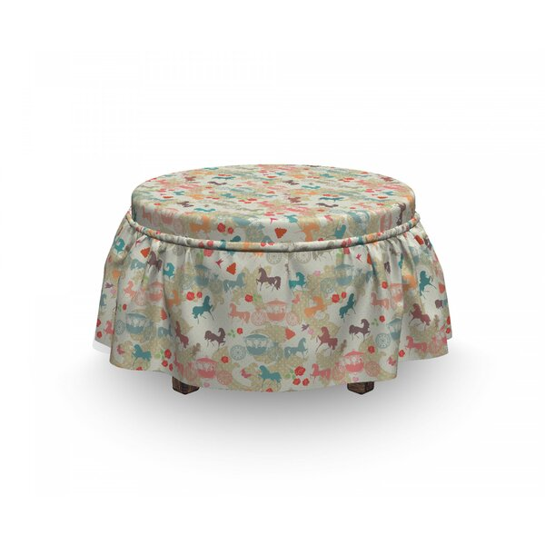 Horses Carriage 2 Piece Slipcover 2 Piece Box Cushion Ottoman Slipcover Set By East Urban Home