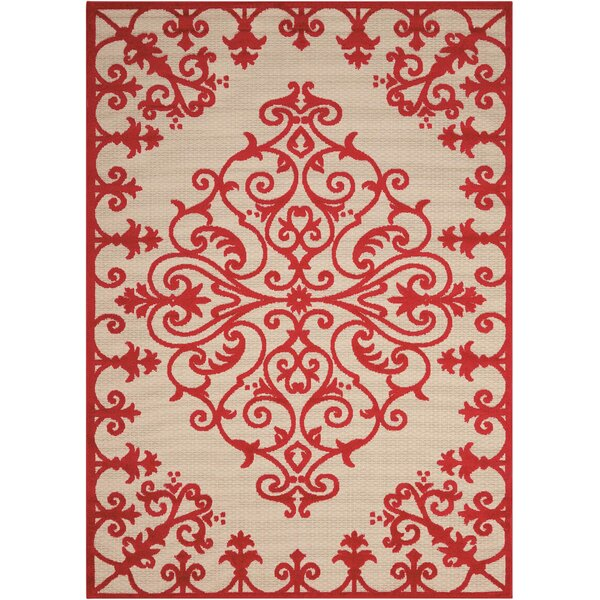 Farley Red Indoor/Outdoor Area Rug by Beachcrest Home