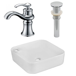 Deals Ceramic Square Vessel Bathroom Sink with Faucet ByAmerican Imaginations
