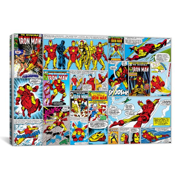 Marvel Comics Iron Man Cover and Panel Graphic Art on Wrapped Canvas by iCanvas