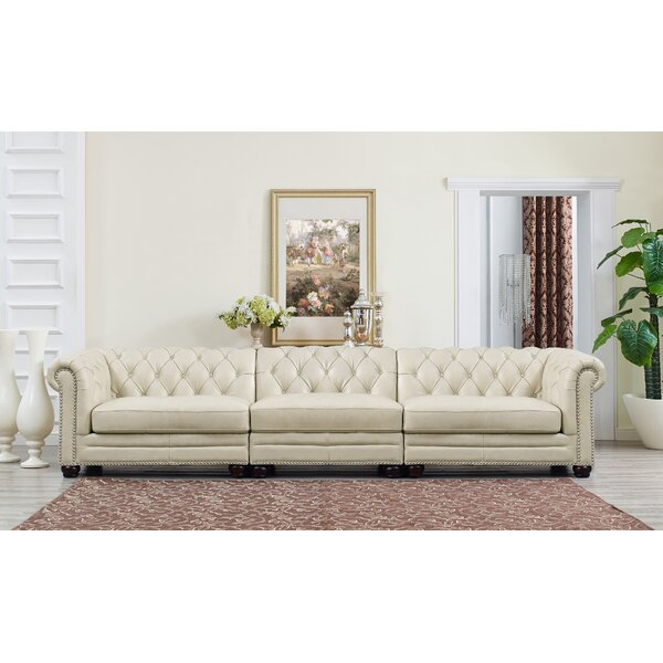 Lizete Leather Chesterfield Sofa by Willa Arlo Interiors