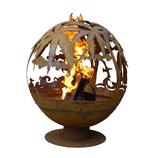 Tropical Fire Globe Steel Wood Burning Fire Pit by EsschertDesign