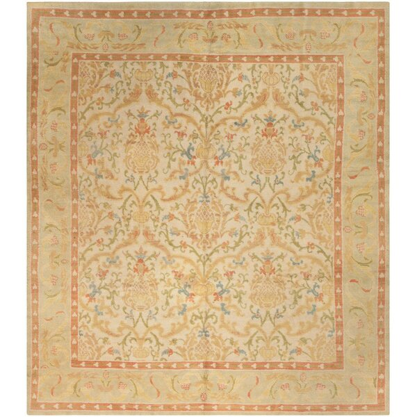 One-of-a-Kind Spanish Hand-Knotted 1950s Spanish Gold 8' x 9'3 Wool Area Rug