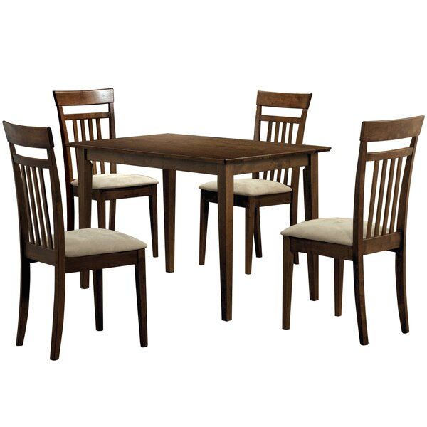 5 Piece Solid Wood Dining Set by Monarch Specialties Inc.